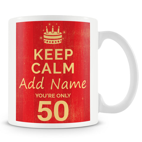 Birthday Personalised Mug With Age 50 Today and Names - Blue