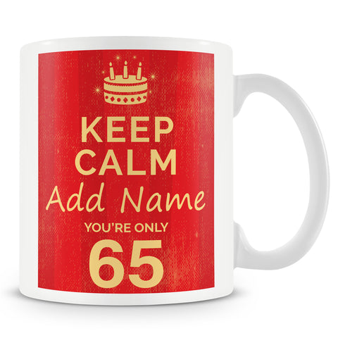 Birthday Personalised Mug With Age 65 Today and Names - Blue