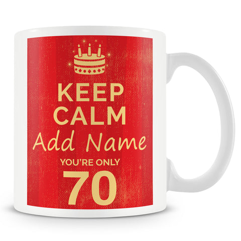 Birthday Personalised Mug With Age 70 Today and Names - Blue