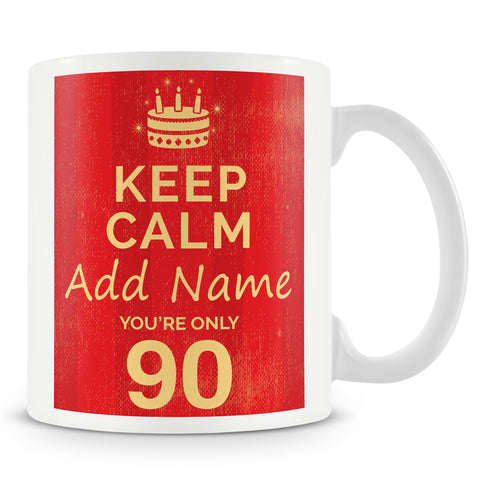 Birthday Personalised Mug With Age 90 Today and Names - Blue