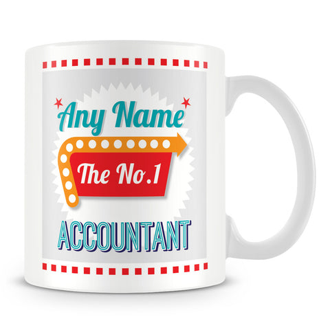 Accountant Personalised Mug - No.1 Retro Gift - Green