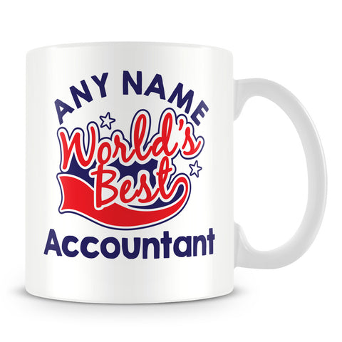 Worlds Best Accountant Personalised Mug - Red