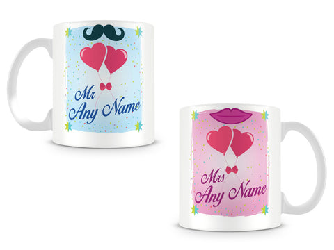 Mr and Mrs Personalised Mugs with Surname