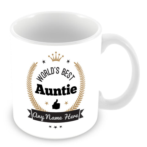 The Worlds Best Auntie Mug - Laurels Design - Gold