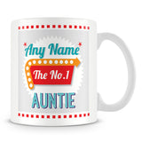 Auntie Personalised Mug - No.1 Retro Gift - Green