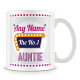 Auntie Personalised Mug - No.1 Retro Gift - Pink