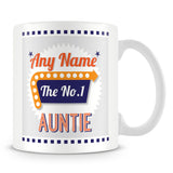 Auntie Personalised Mug - No.1 Retro Gift - Orange