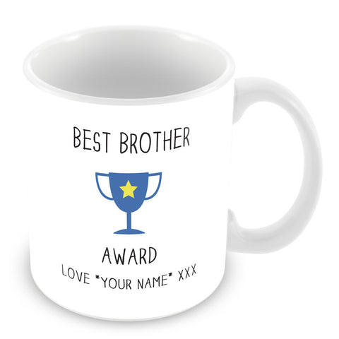 Best Brother Mug - Award Trophy Personalised Gift - Blue