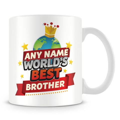 Brother Mug - World's Best Personalised Gift  - Red