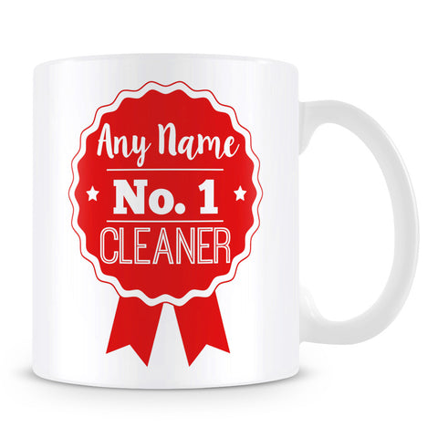 Cleaner Mug - Personalised Gift - Rosette Design - Red
