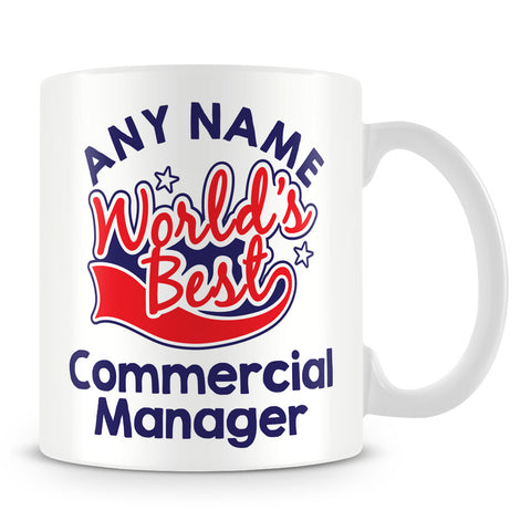 Worlds Best Commercial Manager Personalised Mug - Red