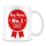 Dad Mug - Personalised Gift - Rosette Design - Red