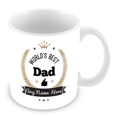 The Worlds Best Dad Mug - Laurels Design - Gold
