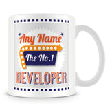 Developer Personalised Mug - No.1 Retro Gift - Orange