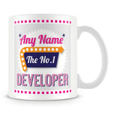 Developer Personalised Mug - No.1 Retro Gift - Pink