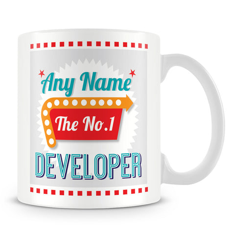Developer Personalised Mug - No.1 Retro Gift - Green