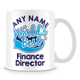 Worlds Best Finance Director Personalised Mug - Blue