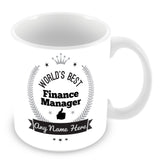 The Worlds Best Finance Manager Mug - Laurels Design - Silver