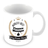 The Worlds Best Finance Manager Mug - Laurels Design - Gold