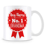 Grandma Mug - Personalised Gift - Rosette Design - Red