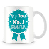Grandma Mug - Personalised Gift - Rosette Design - Green