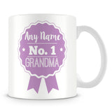 Grandma Mug - Personalised Gift - Rosette Design - Purple