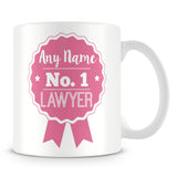 Lawyer Mug - Personalised Gift - Rosette Design - Pink