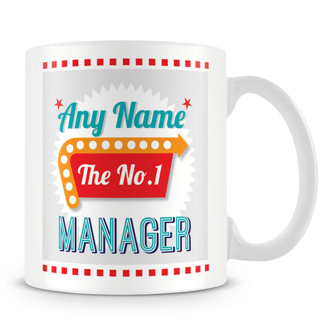 Manager Personalised Mug - No.1 Retro Gift - Green