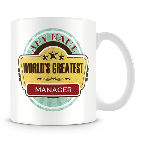 Worlds Greatest Manager Personalised Mug