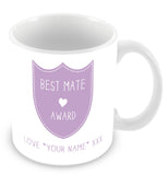 Best Mate Mug - Award Shield Personalised Gift - Purple