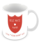 Best Mate Mug - Award Shield Personalised Gift - Red