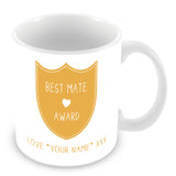 Best Mate Mug - Award Shield Personalised Gift - Yellow