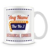 Mechanical Engineer Personalised Mug - No.1 Retro Gift - Orange