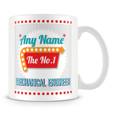 Mechanical Engineer Personalised Mug - No.1 Retro Gift - Green