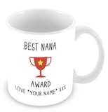 Best Nana Mug - Award Trophy Personalised Gift - Red
