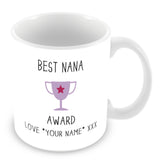 Best Nana Mug - Award Trophy Personalised Gift - Purple