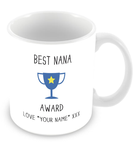 Best Nana Mug - Award Trophy Personalised Gift - Blue