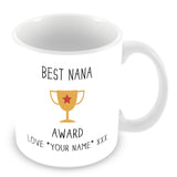 Best Nana Mug - Award Trophy Personalised Gift - Yellow