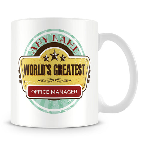 Worlds Greatest Office Manager Personalised Mug