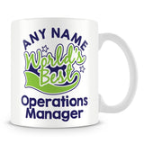 Worlds Best Operations Manager Personalised Mug - Green