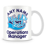 Worlds Best Operations Manager Personalised Mug - Blue