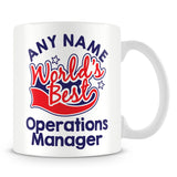 Worlds Best Operations Manager Personalised Mug - Red