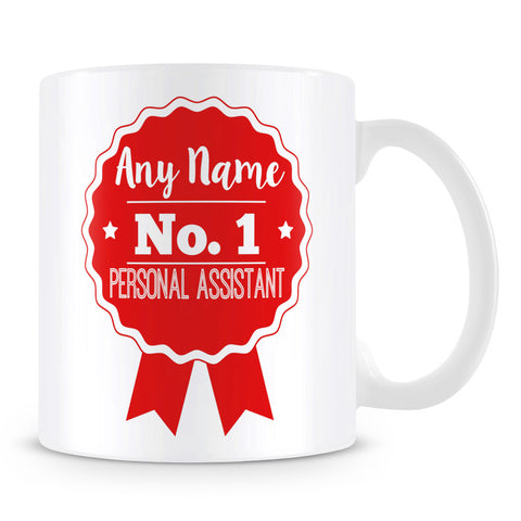 Personal Assistant Mug - Personalised Gift - Rosette Design - Red