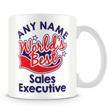Worlds Best Sales Executive Personalised Mug - Red