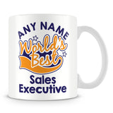 Worlds Best Sales Executive Personalised Mug - Orange