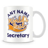 Worlds Best Secretary Personalised Mug - Orange