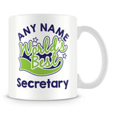 Worlds Best Secretary Personalised Mug - Green