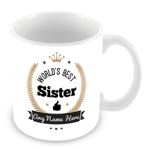 The Worlds Best Sister Mug - Laurels Design - Gold