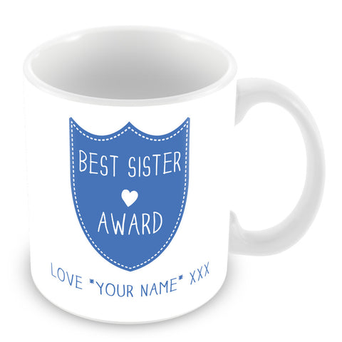 Best Sister Mug - Award Shield Personalised Gift - Blue