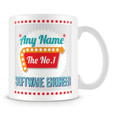Software Engineer Personalised Mug - No.1 Retro Gift - Green